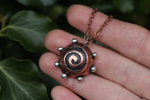 BREATHE Handmade Copper & Sterling Silver Sacred Spiral Necklace