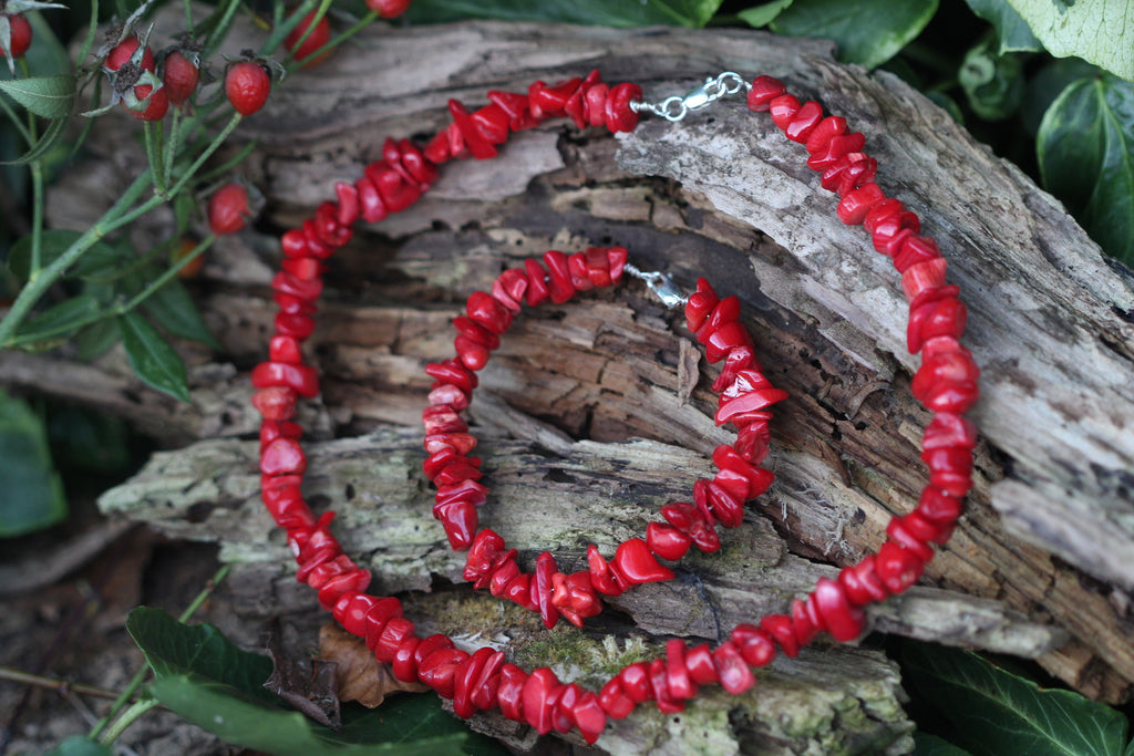 Red Coral & Sterling Silver Necklace & Bracelet Set
