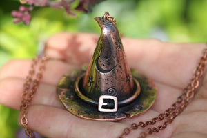 WITCHES CURSE Handmade Copper 3D Witches Hat Necklace