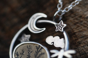 MEADOW MOONRISE Sterling Silver Necklace with Dendritic Limestone & Amethyst