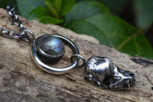 SACRED SHADOW Sterling Silver Bat Skull Necklace with Labradorite