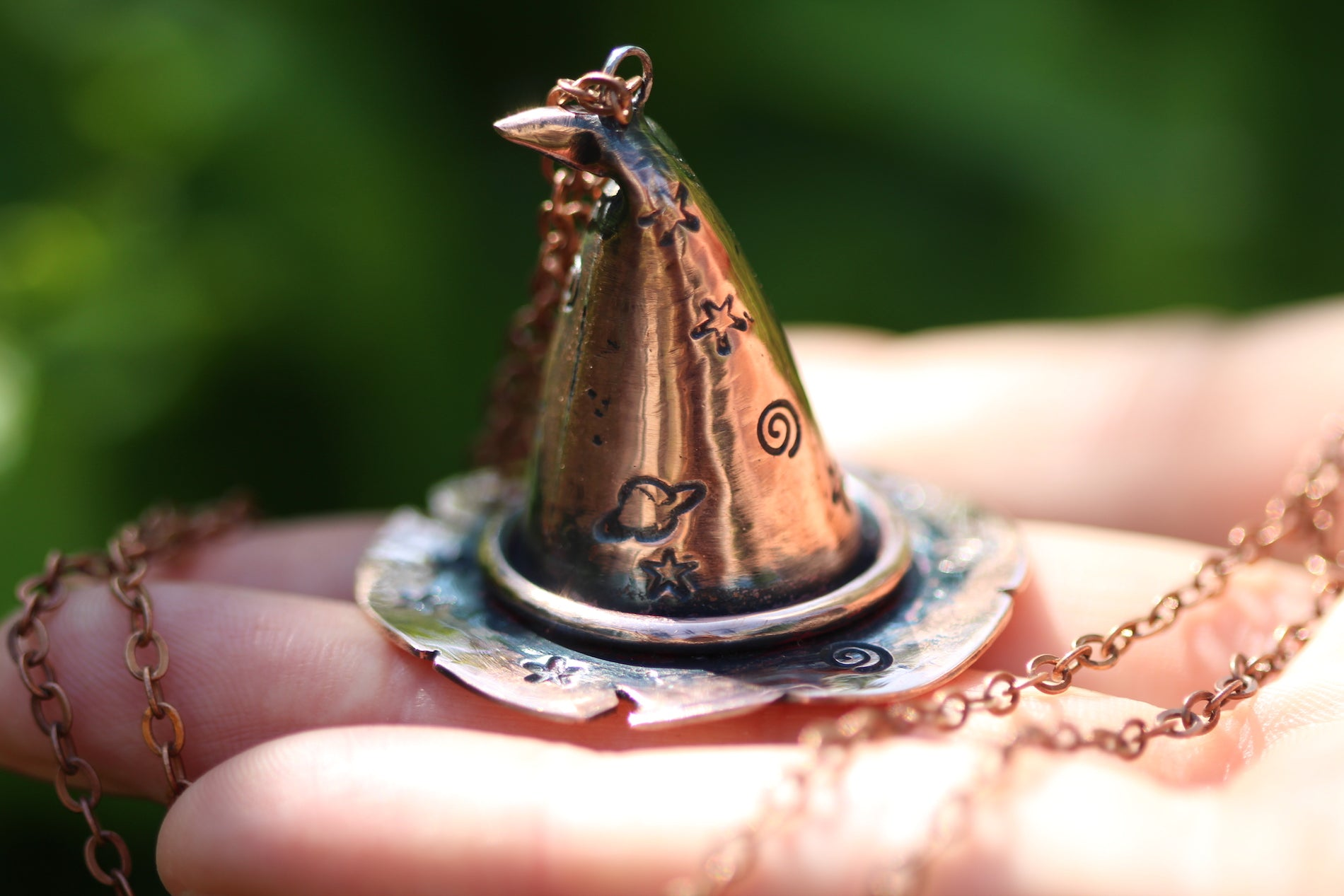 CUSTOM WITCH BITCH Handmade Copper 3D Witches Hat Necklace