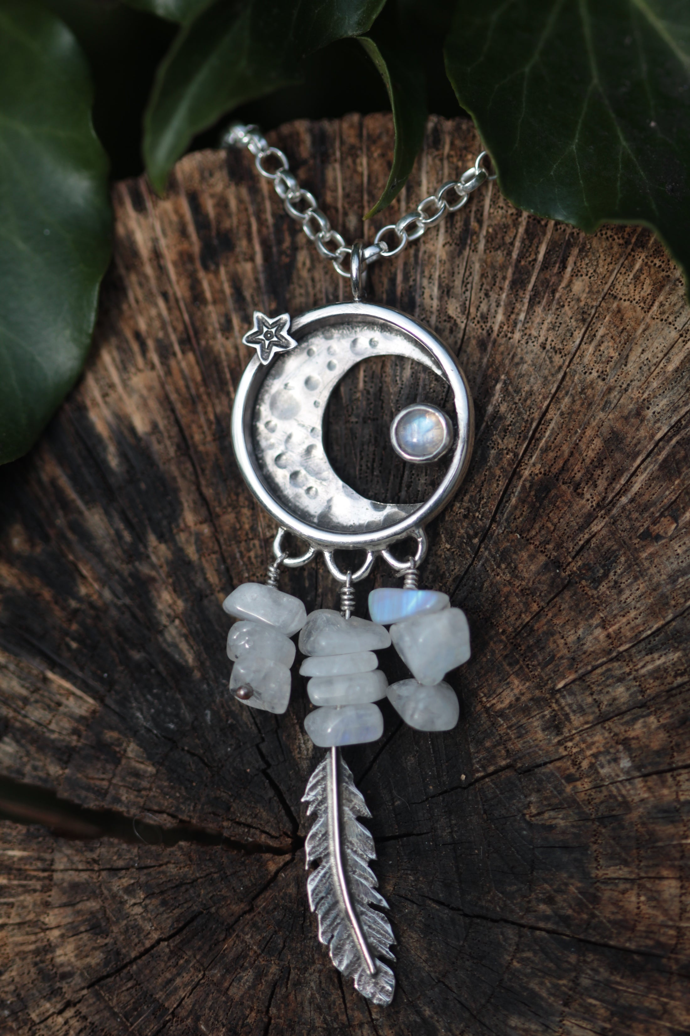 LUNAR ECLIPSE Rainbow Moonstone & Sterling Silver Necklace