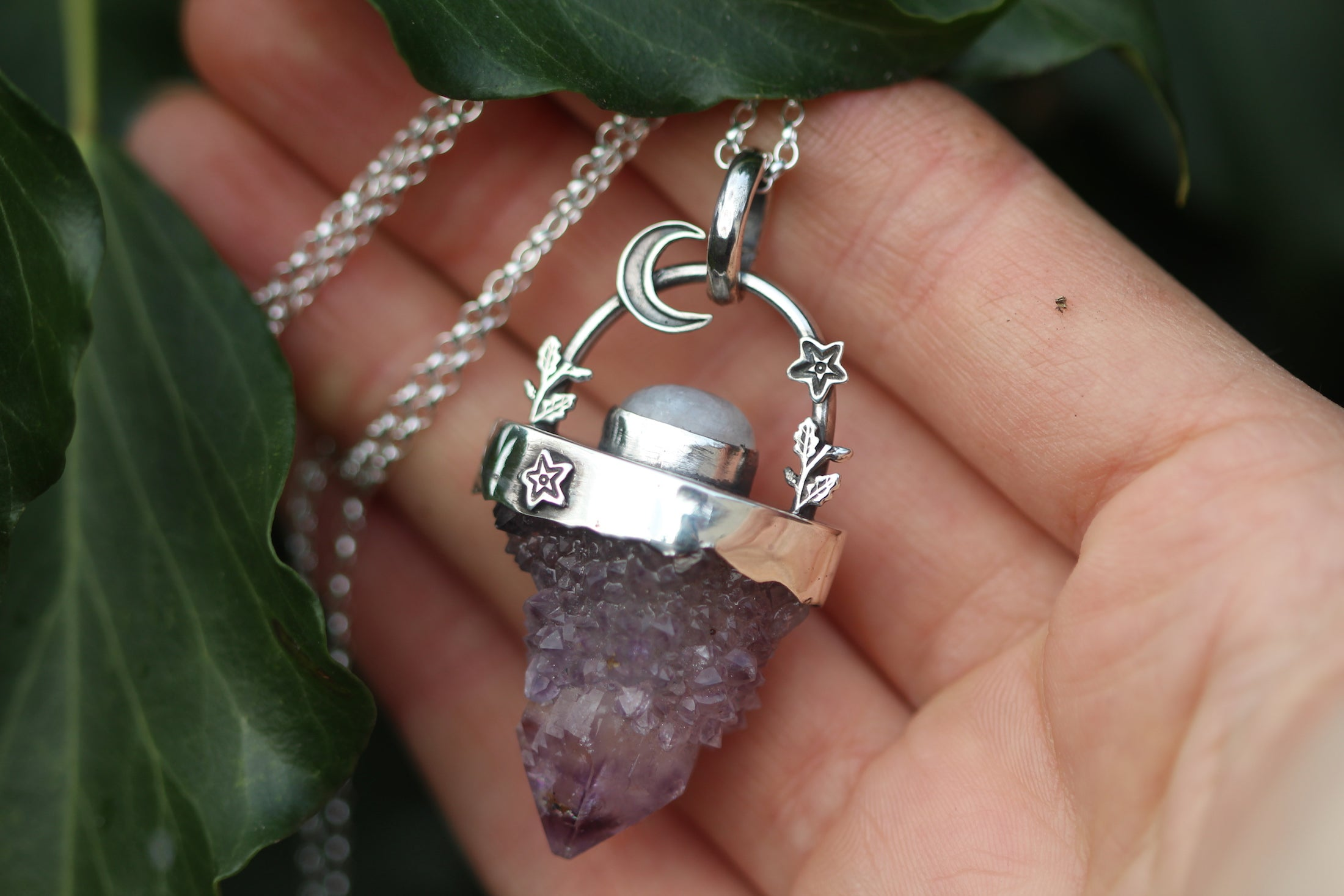 MOONLIGHT FROST Amethyst & Rainbow Moonstone Sterling Silver Necklace