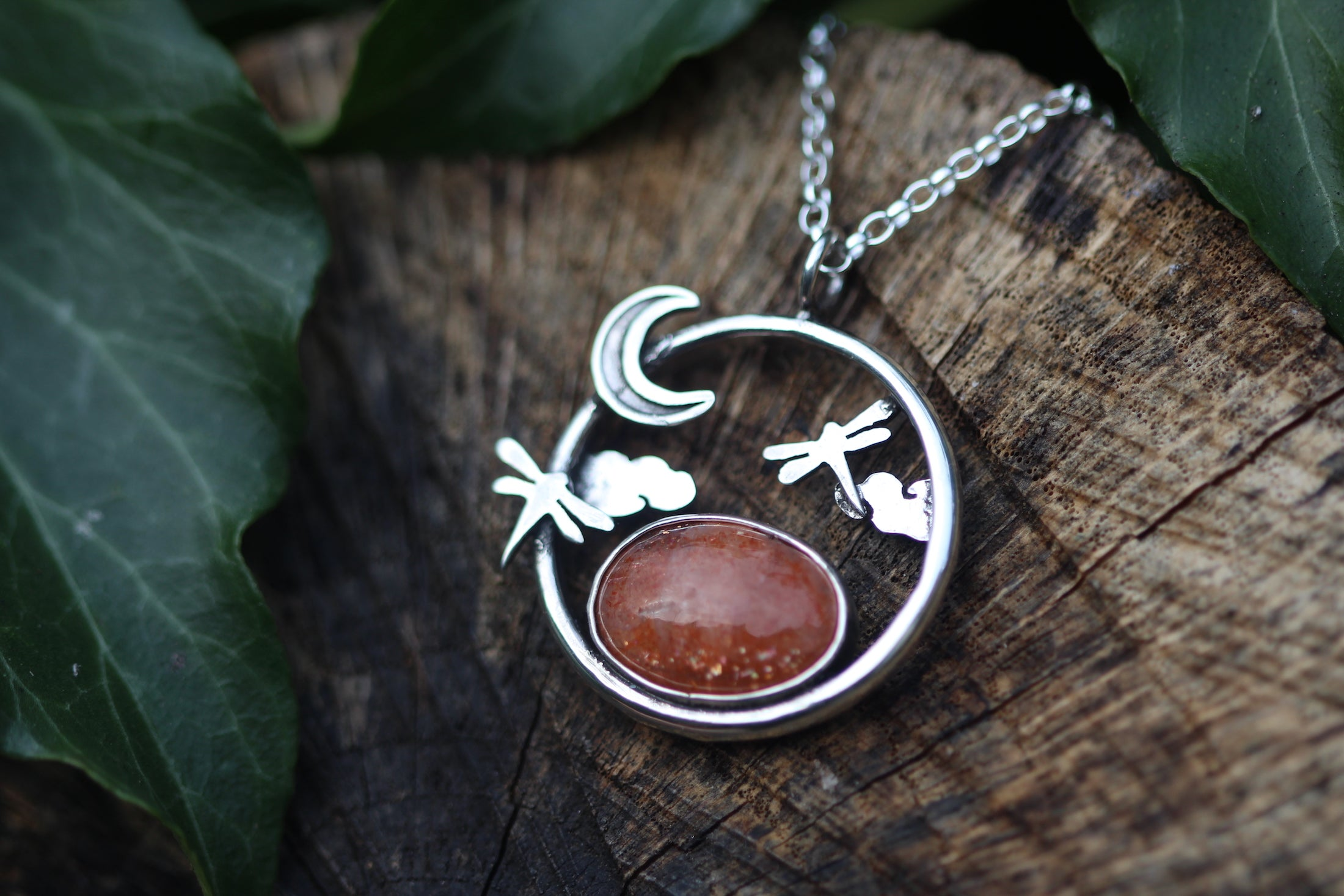 MEADOW MOONRISE Sterling Silver Necklace with Sunstone