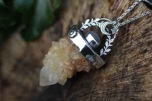 MOONLIGHT FROST Citrine & Rainbow Moonstone Sterling Silver Necklace