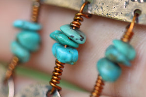 ANCIENT MOON Handmade Copper Earrings with Turquoise