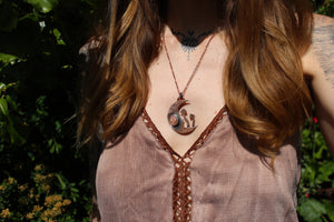 FOREST FOUND Handmade Copper Necklace with Sunstone