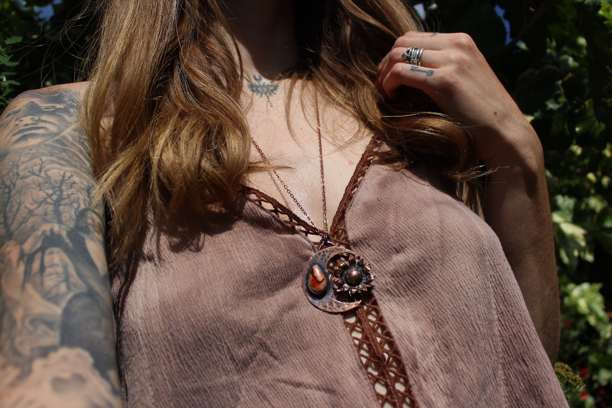 MOONBLOOM Handmade Copper Necklace with Fire Opal