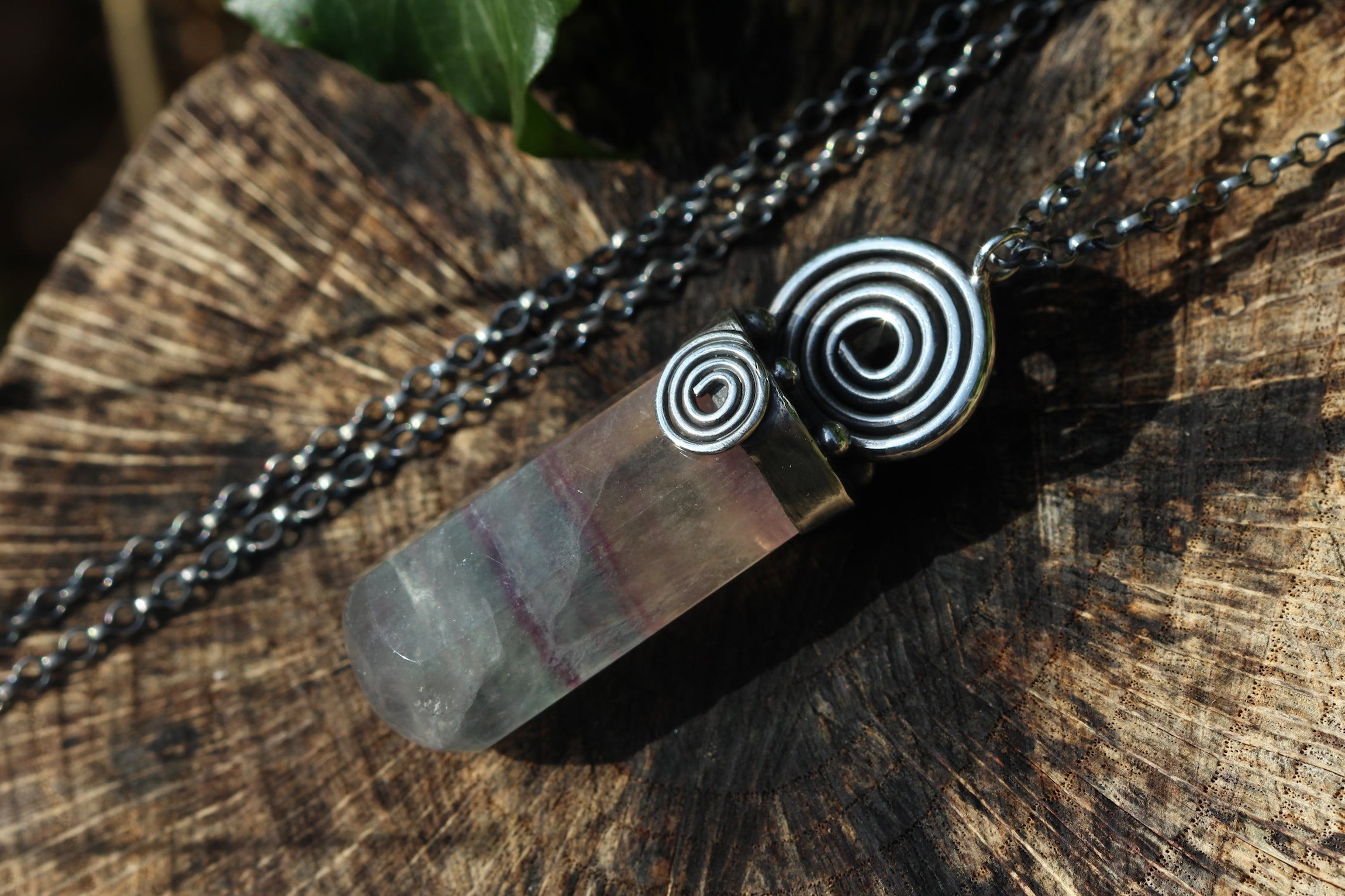UNWIND Fluorite & Sterling Silver Massage Crystal Necklace