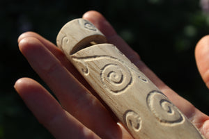 Green Owl Handmade Elder Wood Whistle