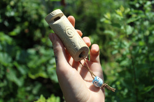 Light Blue Owl Handmade Elder Wood Whistle