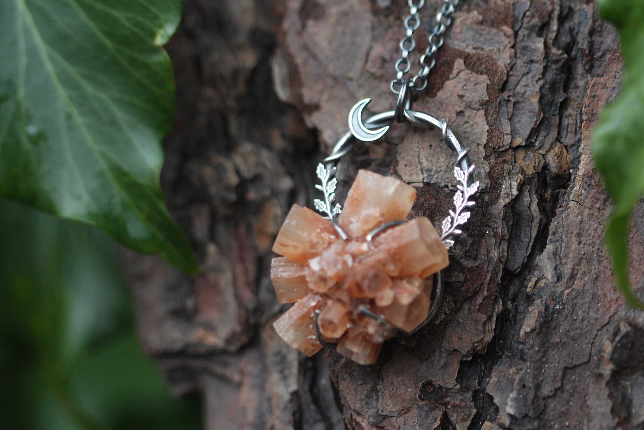 STABILISE Aragonite Crystal & Sterling Silver Necklace