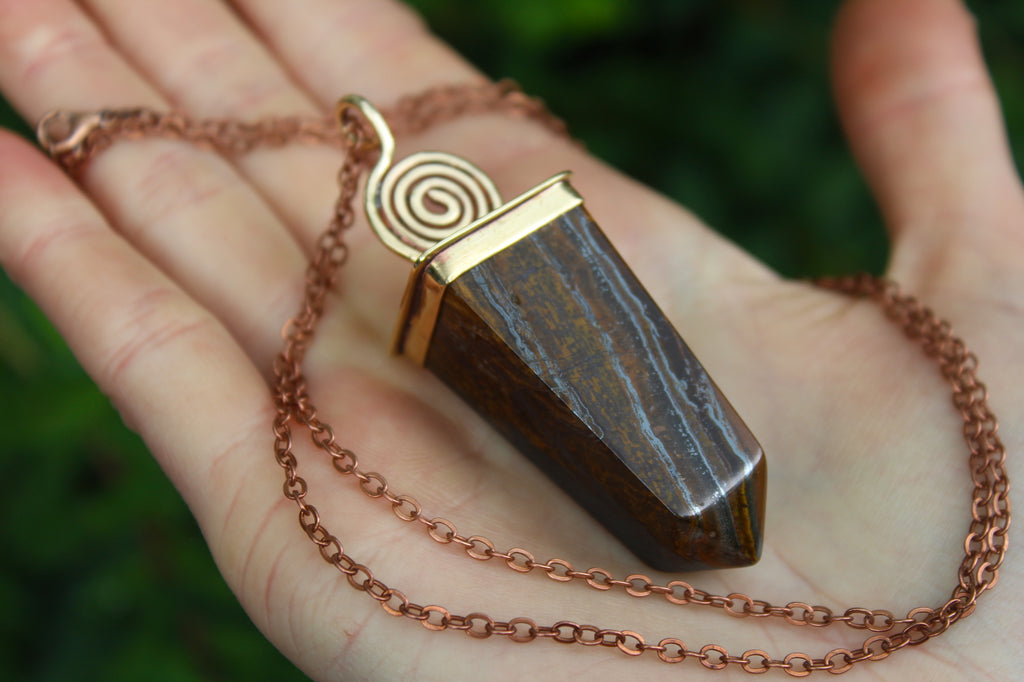 FIERCE Handmade Brass Necklace with Tigers Eye