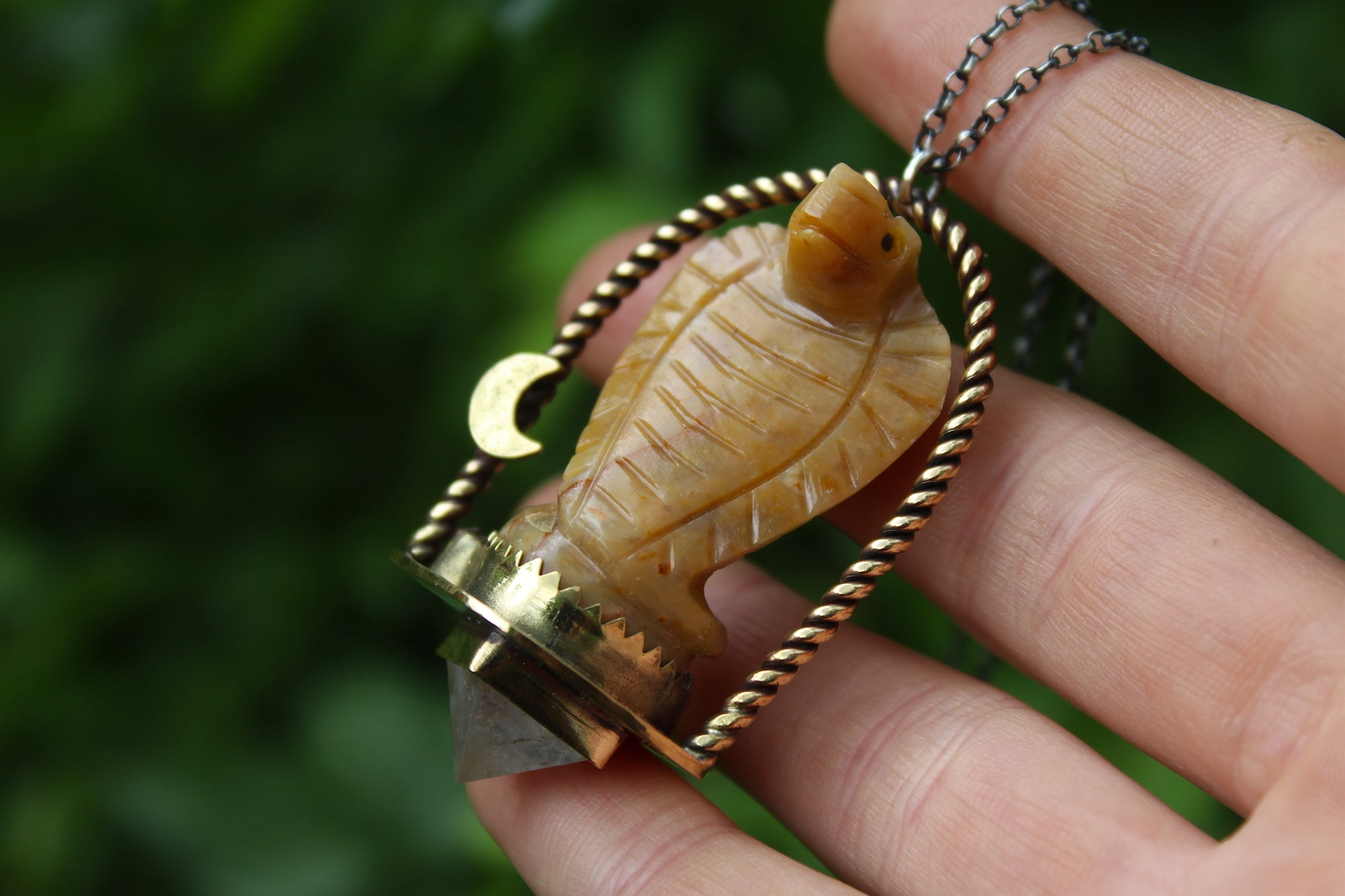 SERPENT TREASURE Handmade Brass Necklace with Agate & Clear Quartz