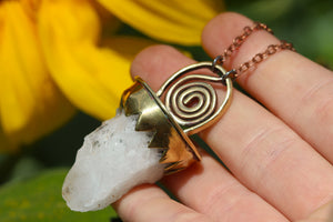 SPIRAL DANCE Handmade Brass Necklace with Natural Welsh Quartz