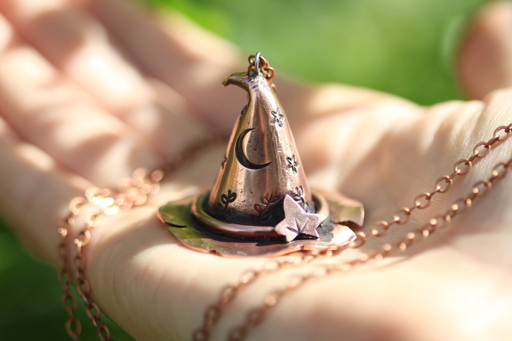 HEDGE WITCH Handmade Copper 3D Witches Hat Necklace