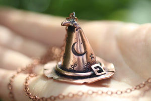 'FUCK OFF' Handmade Copper 3D Witches Hat Necklace