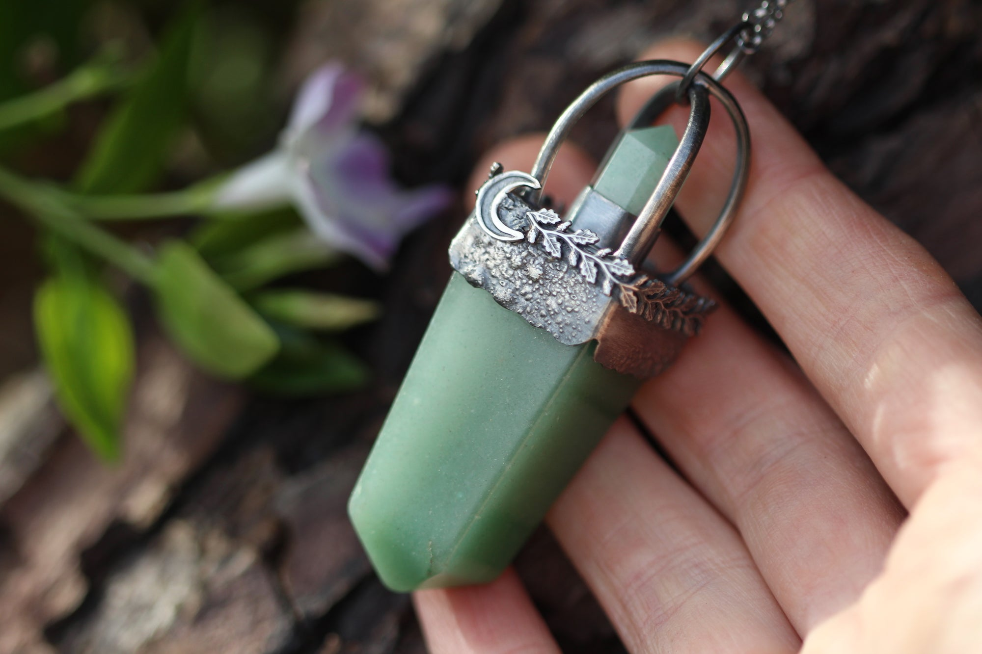 HEART OF SPRING Sterling Silver Necklace with Green Aventurine