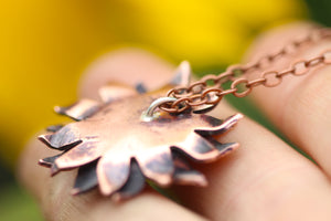 HARVEST Handmade Copper Sunflower Necklace