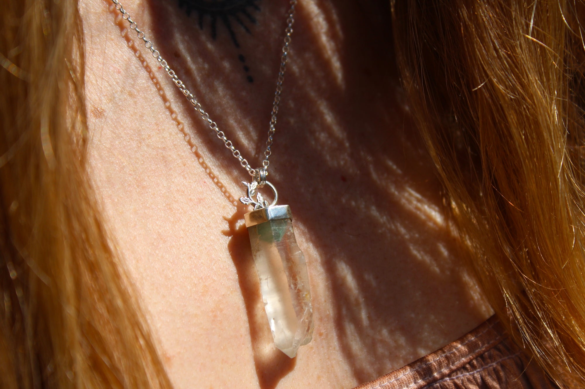 INNER GROWTH Sterling Silver Necklace with rare Fuschite included Quartz