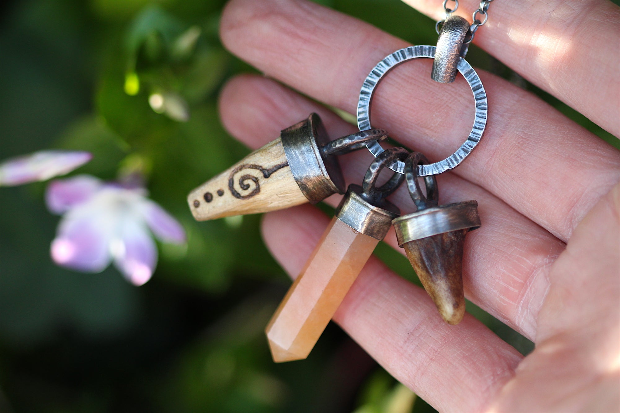 MEDICINE KEEPER Sterling Silver Necklace with Palo Santo, Antler & Peach Aventurine