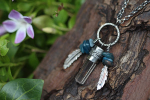 RIVER WEAVER Sterling Silver Necklace with Clear Quartz & Blue Apatite