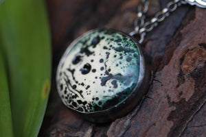 WILD FEMININE Sterling Silver Tiger Necklace with Ceramic Moon