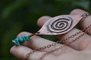 FLOW Handmade Copper Necklace with Turquoise