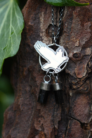 TREASURE SEEKER Sterling Silver Crow Necklace with Black Tourmaline