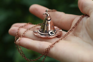 'CUNT' Handmade Copper 3D Witches Hat Necklace