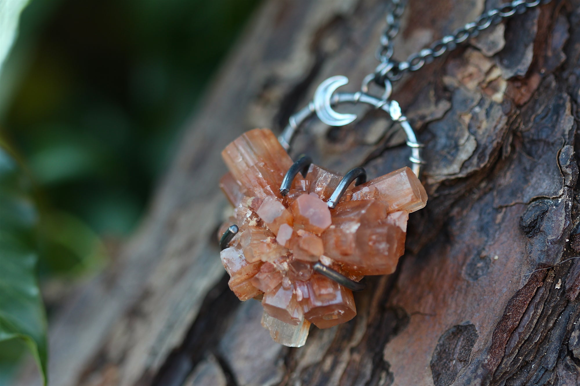 ROOTED Aragonite Crystal & Sterling Silver Necklace
