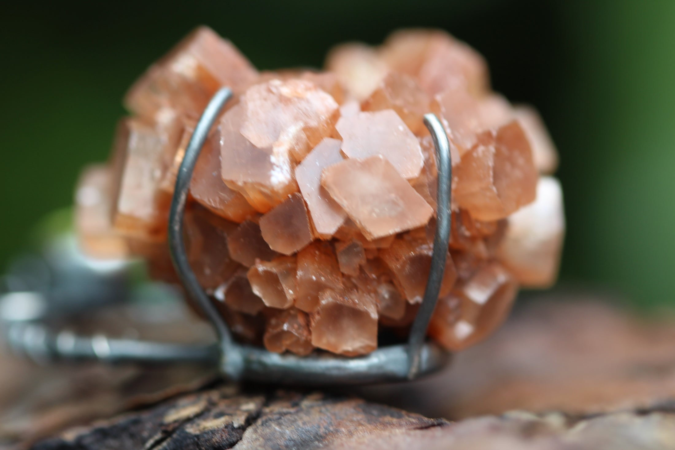 ROOTED Raw Aragonite Crystal & Peridot Sterling Silver Necklace
