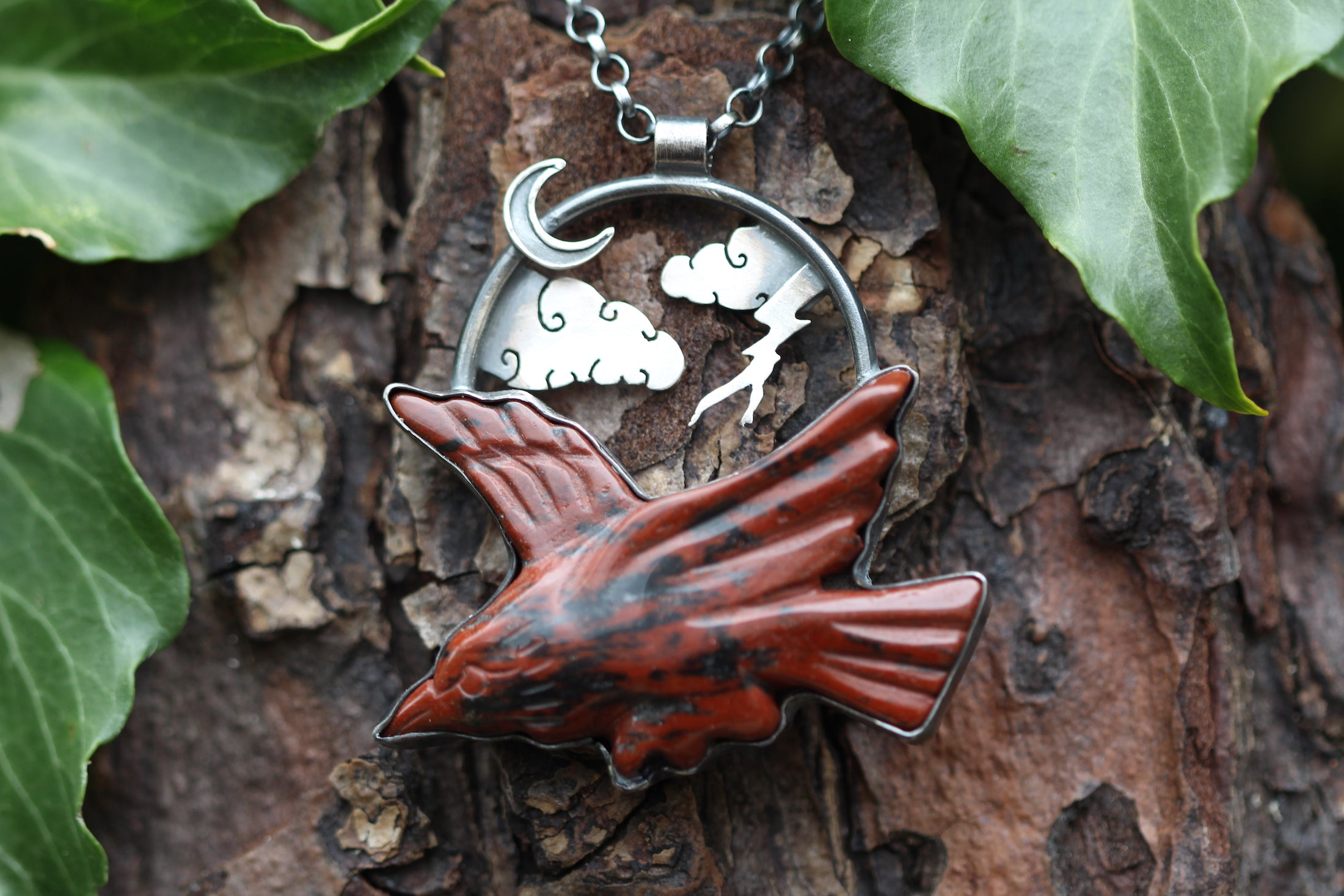 CHAOS SKIES Sterling Silver Necklace with Mahogany Jasper Bird of Prey