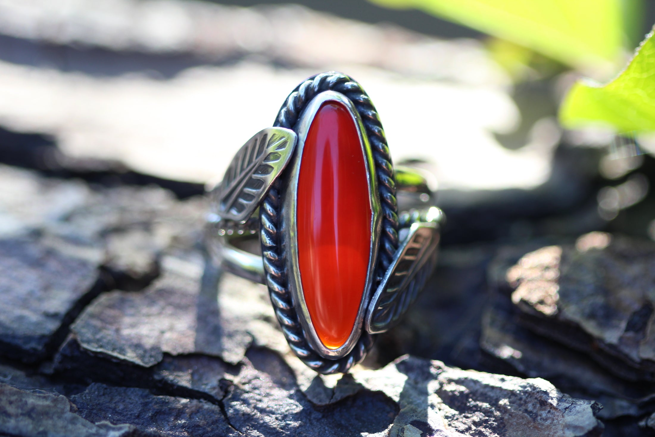 REBIRTH Sterling Silver Ring with Carnelian (UK Size O or US size 7)
