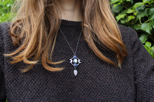 AS ABOVE, SO BELOW Necklace with Rainbow Moonstone & Lapis Lazuli