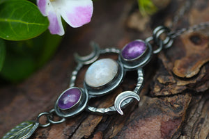 AS ABOVE, SO BELOW Necklace with Rainbow Moonstone & Amethyst