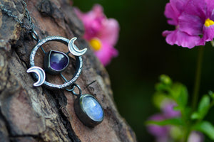 LUNAR ALCHEMY Necklace with Rainbow Moonstone & Amethyst
