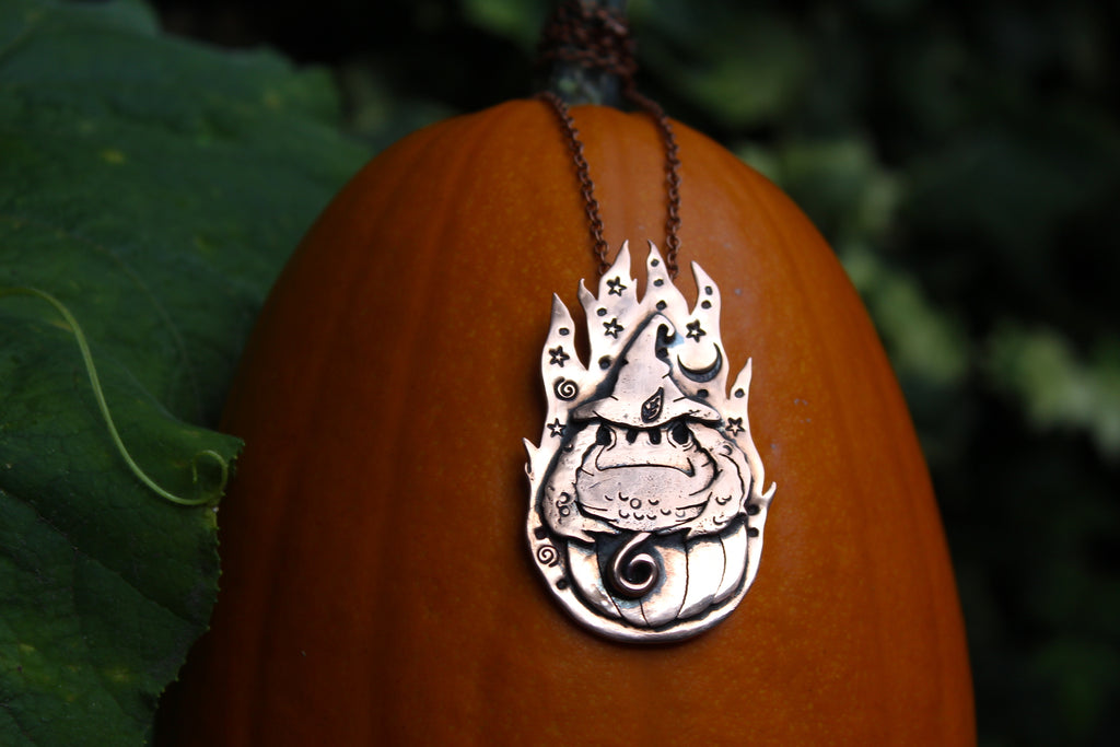 WITCHING HOUR - WISE OLD TOAD Handmade Recycled Copper Necklace