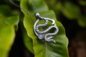RELEASE Sterling Silver Serpent Necklace with Rainbow Moonstone