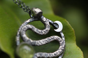 *Reserved* RELEASE Sterling Silver Serpent Necklace with Peridot