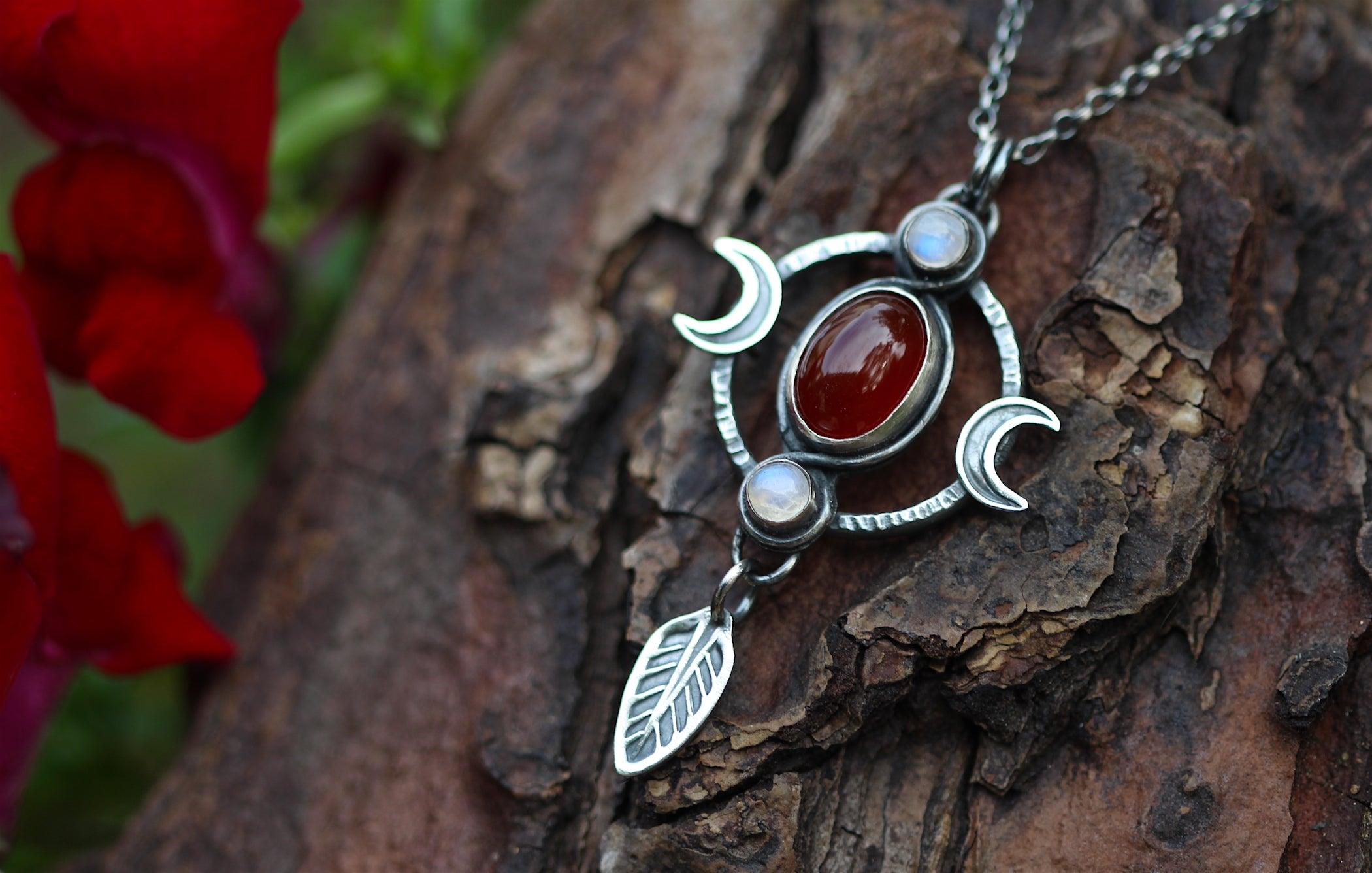 AS ABOVE, SO BELOW Necklace with Rainbow Moonstone & Carnelian