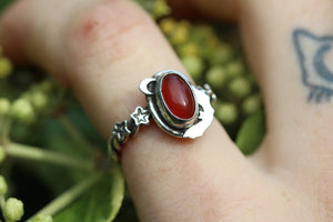 CHILDREN OF THE NIGHT Handmade Sterling Silver Ring with Carnelian - Size N/6.5