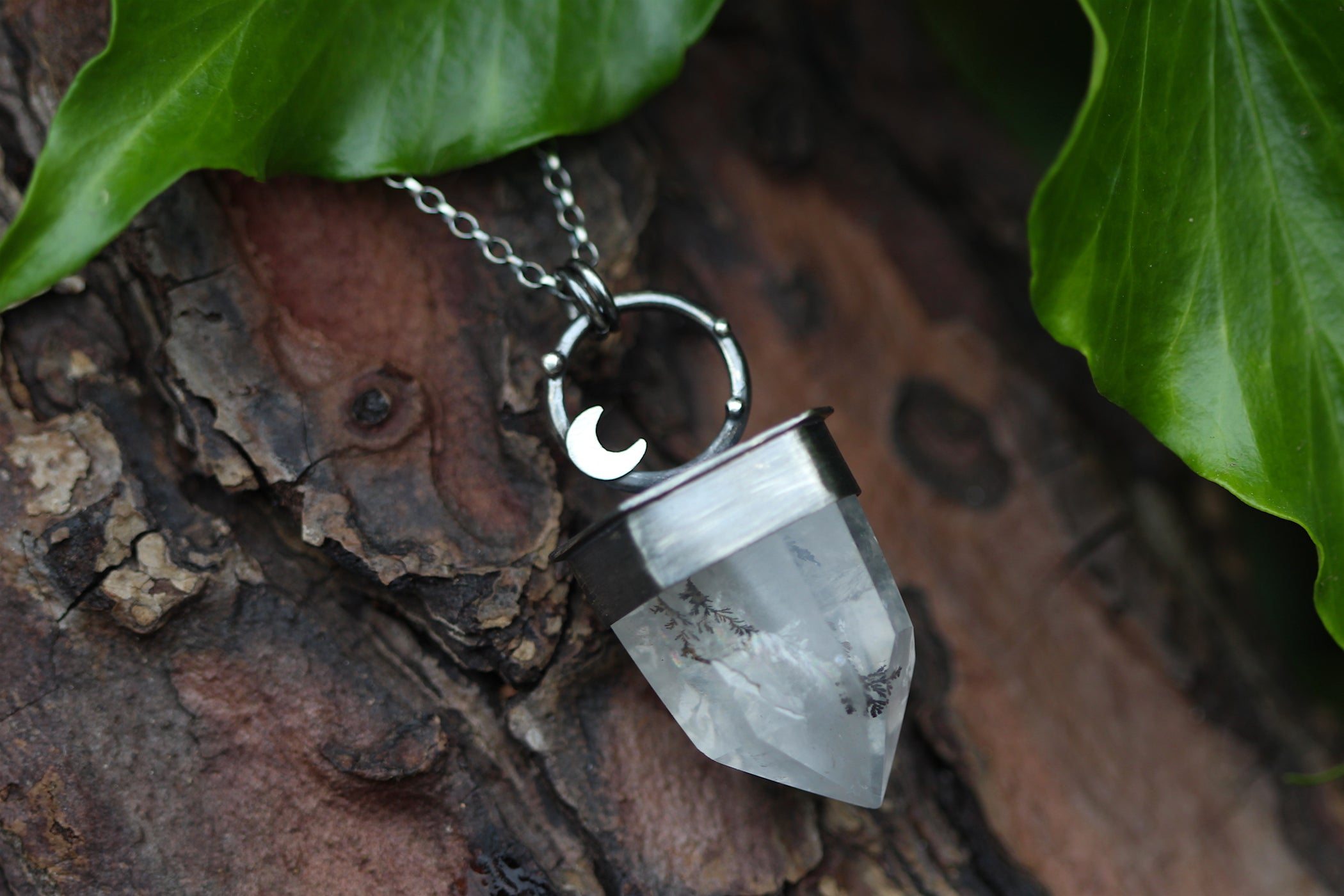 BLOOM Sterling Silver Necklace with Dendtritic Quartz and Rainbow Moonstone