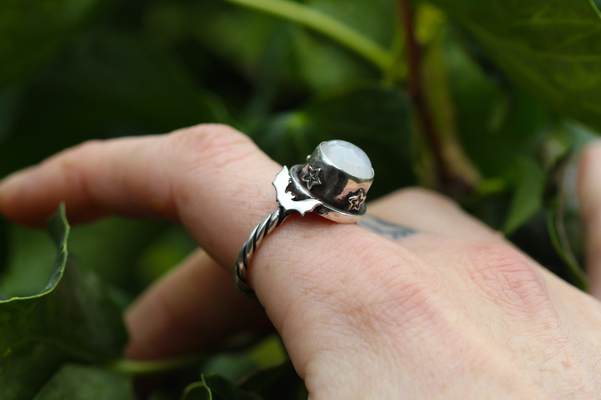 SAMHAIN BLUE MOON Handmade Sterling Silver Ring with Rainbow Moonstone - Size O/7