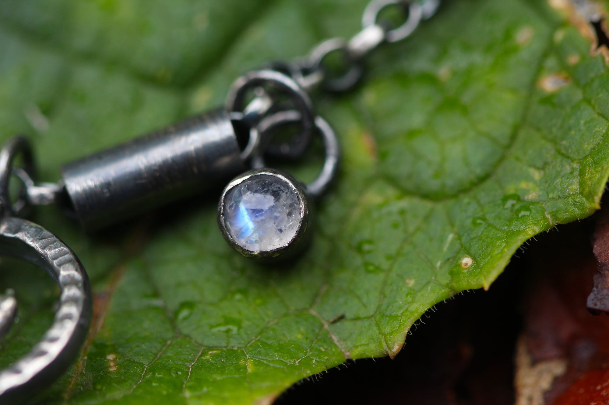 UNEARTHED Sterling Silver Rune Necklace with Rainbow Moonstone