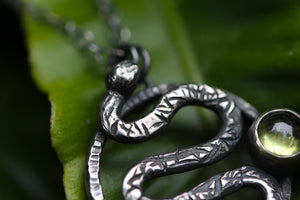 RENEW Sterling Silver Serpent Necklace with Peridot