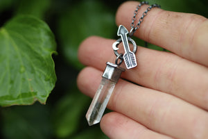 BE BOLD Sterling Silver Necklace with Clear Quartz