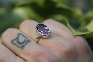 LAVENDER SKY Handmade Sterling Silver Ring with Amethyst - Size K/5.25