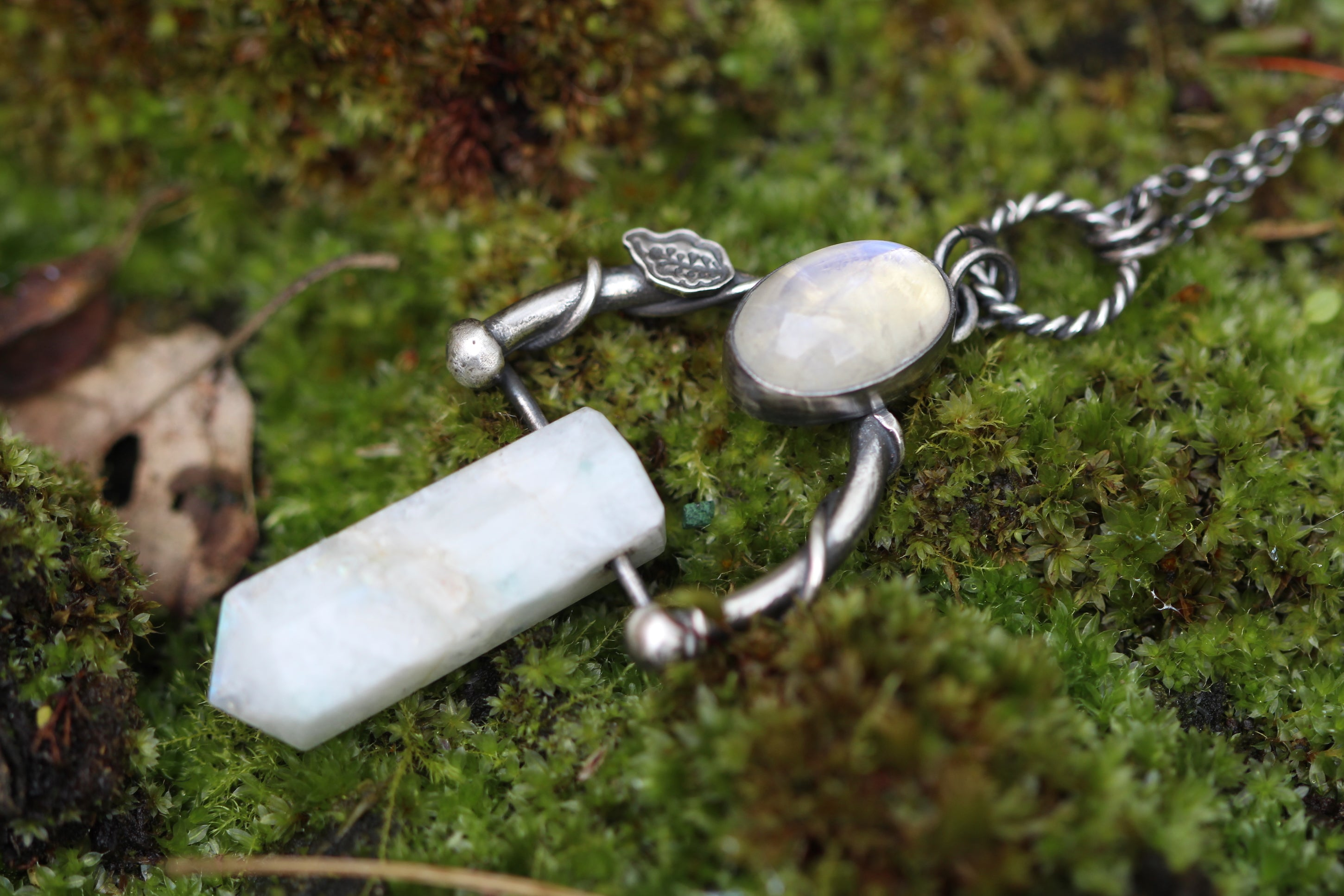 EARTHBOUND Rainbow Moonstone Necklace